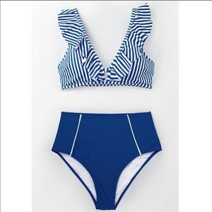 Cupshe Swim - CUPSHE BLUE STRIPED RUFFLE HIGH WAISTED BIKINI SET
